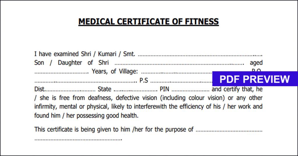 Medical Fitness Certificate Format PDF