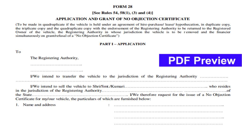 RTO Form 28 29 30 Download pdf