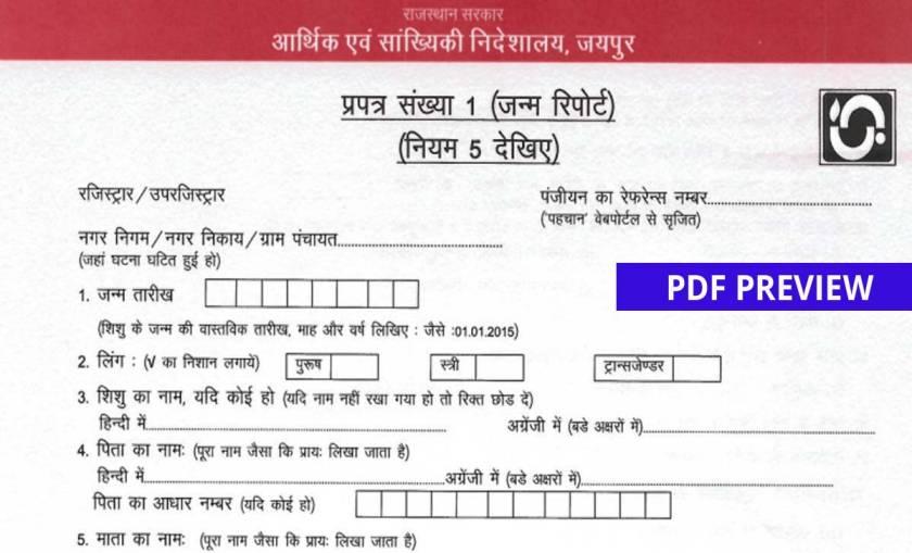 Birth Certificate Form PDF Rajasthan