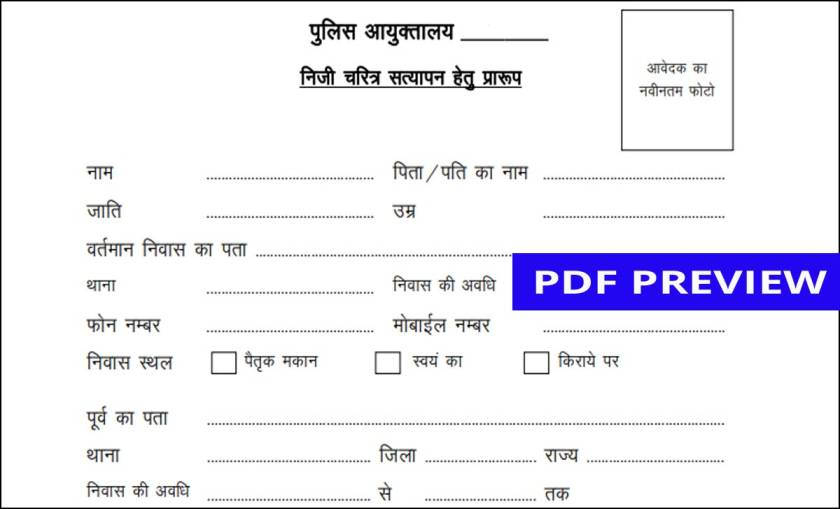Character Certificate in Hindi PDF Download