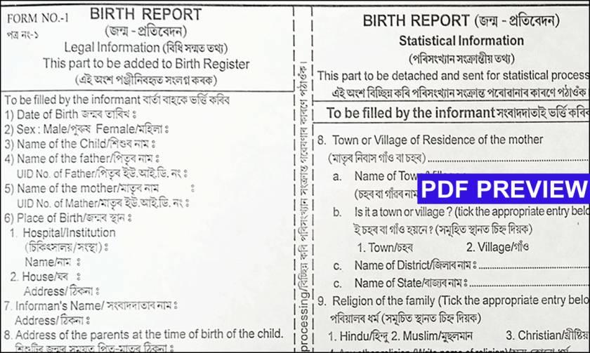 Birth Certificate Application Form Assam Pdf